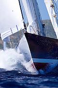 Rebecca sailing in The Superyacht Cup regatta, race one.