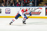 KELOWNA, BC - SEPTEMBER 21:  Luke Gallagher #2 of the Spokane Chiefs skates against the Kelowna Rockets  at Prospera Place on September 21, 2019 in Kelowna, Canada. (Photo by Marissa Baecker/Shoot the Breeze)