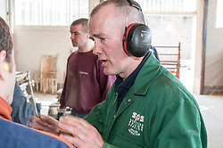Instructor & prisoners working in the workshops, HMP Barlinnie, Glasgow