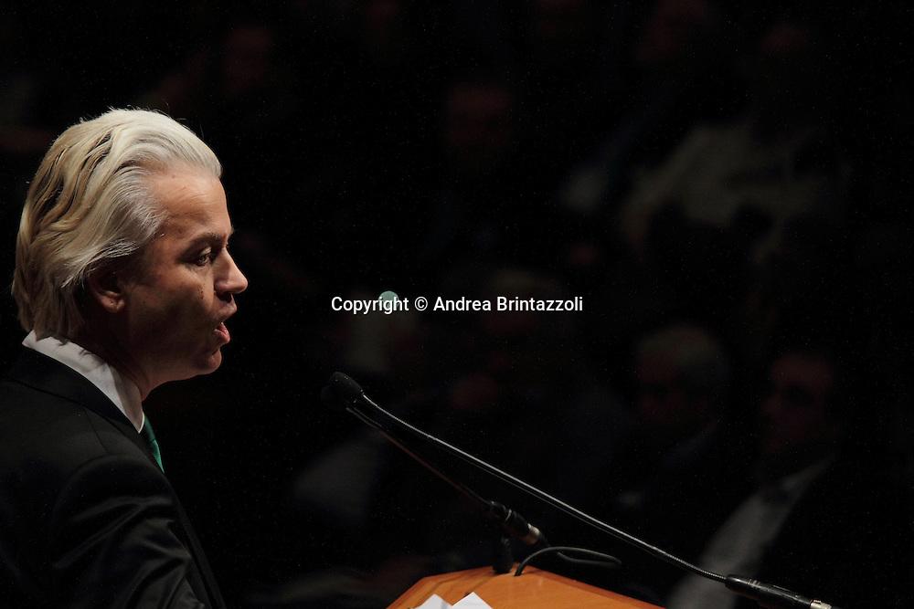 Torino 15 Dicembre 2013. Lingotto Fiere Congresso Federale Lega Nord Padania.<br /> Geert Wilders Leader dell&rsquo;estrema destra xenofoba olandese.