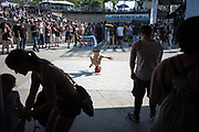 DETROIT – MAY 27: Break dancer at the 2017 Movement Detroit Electronic Music Festival Saturday, May 27, 2017 at Hart Plaza in downtown Detroit. (Photo by Bryan Mitchell)