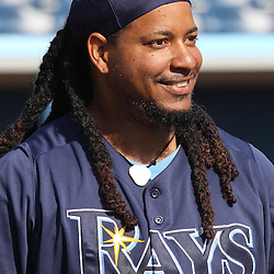 March 15, 2011; Port Charlotte, FL, USA; Tampa Bay Rays left fielder Manny Ramirez (24) before a spring training exhibition game against the Florida Marlins at Charlotte Sports Park.   Mandatory Credit: Derick E. Hingle