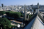 France. Paris elevated view from Notre dame cathedral. Notre dame cathedral and the Seine river, east side      boat quays