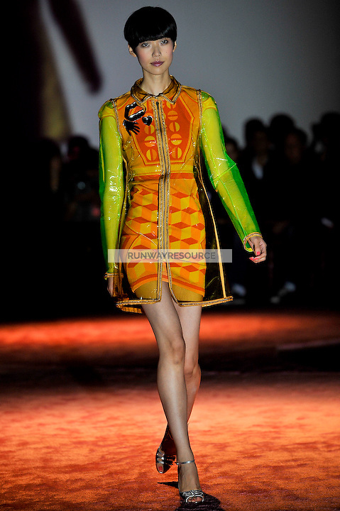 Tao Okamoto walks the runway wearing Zac Posen Spring 2010 collection during Mercedes-Benz fashion week on September 14, 2009.