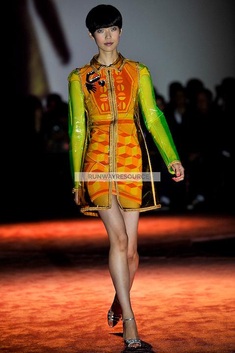 Tao Okamoto walks the runway wearing Zac Posen Spring 2010 collection during Mercedes-Benz fashion week on September 14, 2009.