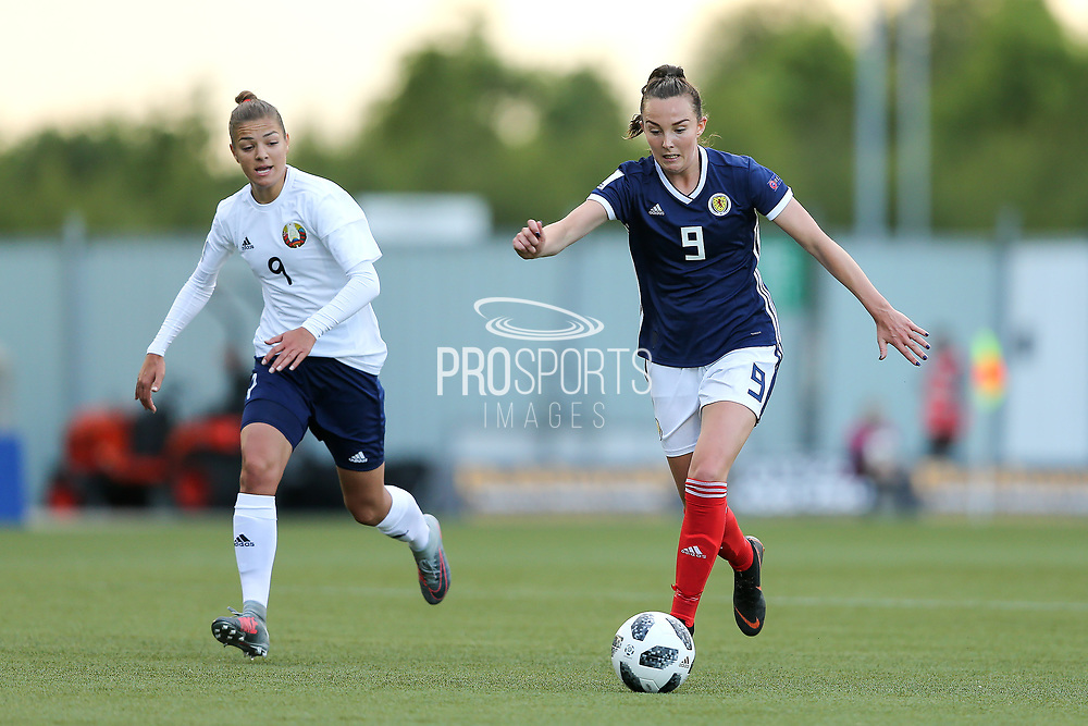 Caroline Weir (#9) of Scotland drives the ball forward during the FIFA Women's World Cup UEFA Qualifier match between Scotland Women and Belarus Women at Falkirk Stadium, Falkirk, Scotland on 7 June 2018. Picture by Craig Doyle.