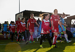 Players and mascots walk on to the pitch at Stoke Gifford Stadium - Mandatory by-line: Paul Knight/JMP - 09/05/2017 - FOOTBALL - Stoke Gifford Stadium - Bristol, England - Bristol City Women v Manchester City Women - FA Women's Super League Spring Series