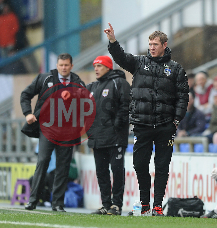 Oldham Athletic Manager, Dean Holden - Photo mandatory by-line: Dougie Allward/JMP - Mobile: 07966 386802 - 03/04/2015 - SPORT - Football - Oldham - Boundary Park - Bristol City v Oldham Athletic - Sky Bet League One