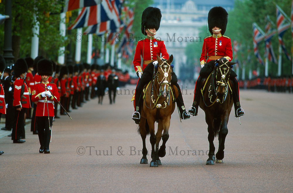 Royaume-Uni, Londres, Westminster, Whitehall, Trooping the Colour aussi appelé The Queen's Annual Birthday Parade (défilé annuel pour l'anniversaire de la reine) a lieu le 2e ou 3e samedi en juin sur la Horse Guards Parade // UK, England, London, Trooping the Colour Ceremony at Horse Guards Parade Whitehall