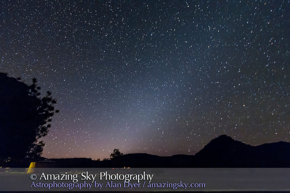The evening Zodiacal Light as seen in spring (December) in the southern hemispher -- taken Dec 6, 2012 from Coonabarabran, NSW, Australia. This is an 80 second untracked exposure at f/3.5 and ISO 1600 with the Canon 60Da and 10-22mm lens.