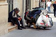 Roma  2005 .Senza fissa dimora in via del Corso.Homeless in via del Corso..