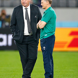 Steve Hansen All Blacks Head Coach of New Zealand (All Blacks) with Joe Schmidt (Head Coach) of Ireland during the New Zealand and Ireland Rugby World Cup  Quarter-Final at the Tokyo Stadium,376-3 Nishimachi, Chofu, Tokyo 182-0032 Saturday 19th October 2019. (Mandatory Byline -Steve Haag Sports Hollywoodbets)