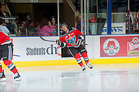 KELOWNA, CANADA - OCTOBER 10: Jesse Lees #2 of the Kelowna Rockets enters the ice as the Spokane Chiefs visit the Kelowna Rockets on October 10, 2012 at Prospera Place in Kelowna, British Columbia, Canada (Photo by Marissa Baecker/Shoot the Breeze) *** Local Caption ***