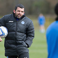 St Johnstone Training....Assistant Manager Callum Davidson pictured taking training<br /> Picture by Graeme Hart.<br /> Copyright Perthshire Picture Agency<br /> Tel: 01738 623350  Mobile: 07990 594431