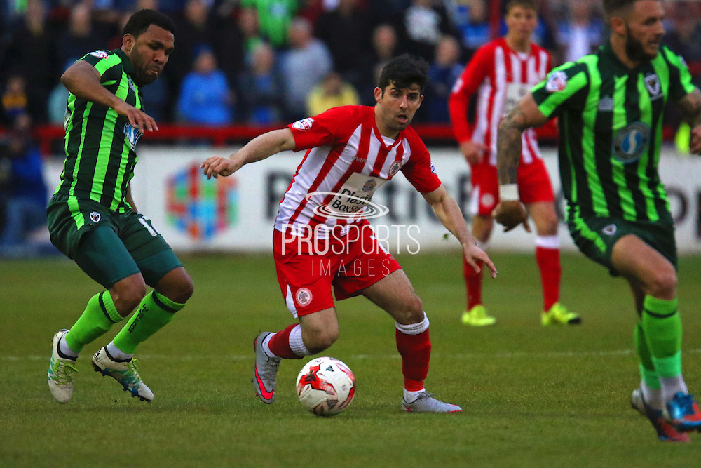 Piero Mingoia of Accrington Stanley FC attacks during the Sky Bet League 2 play-off second leg match between Accrington Stanley and AFC Wimbledon at the Fraser Eagle Stadium, Accrington, England on 18 May 2016. Photo by Pete Burns.