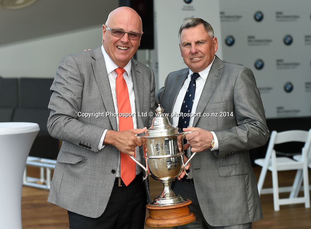 Tournament Director Michael Glading and John Hart. BMW NZ Golf Open 2015 Announcement, The Cloud, Auckland on Tuesday 7 October 2014. Photo: Andrew Cornaga / Photosport.co.nz