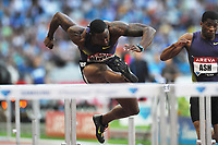 ATHLETICS - AREVA MEETING 2010 - STADE DE FRANCE / ST DENIS (FRA) - 16/07/2010 - PHOTO : STEPHANE KEMPINAIRE / DPPI <br /> 110 M HURDLES - WINNER - MEN - DAVID OLIVER (USA)