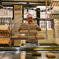 Streit's Matzoh, NYC. The matzoh emerges from the oven, where it has cooked for one minute and 40 seconds at 800 degrees. It is taken from the conveyor belt and sorted into stacks of 11 pieces, which are placed in wire baskets. The baskets will carry the pre-sorted matzoh to the packaging room where each stack will fill an 11 0z. box.