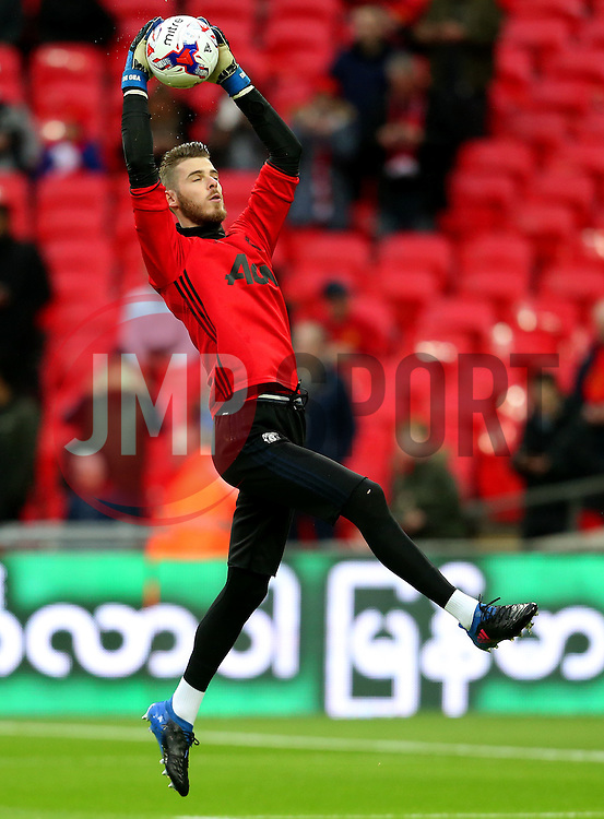 David De Gea of Manchester United warms up - Mandatory by-line: Matt McNulty/JMP - 26/02/2017 - FOOTBALL - Wembley Stadium - London, England - Manchester United v Southampton - EFL Cup Final