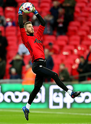David De Gea of Manchester United warms up - Mandatory by-line: Matt McNulty/JMP - 26/02/2017 - FOOTBALL - Wembley Stadium - London, England - Manchester United v Southampton - EFL Cup Final