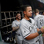 NEW YORK, NEW YORK - June 01:  Jose Abreu #79 of the Chicago White Sox in the dugout preparing to bat during the Chicago White Sox  Vs New York Mets regular season MLB game at Citi Field on June 01, 2016 in New York City. (Photo by Tim Clayton/Corbis via Getty Images)