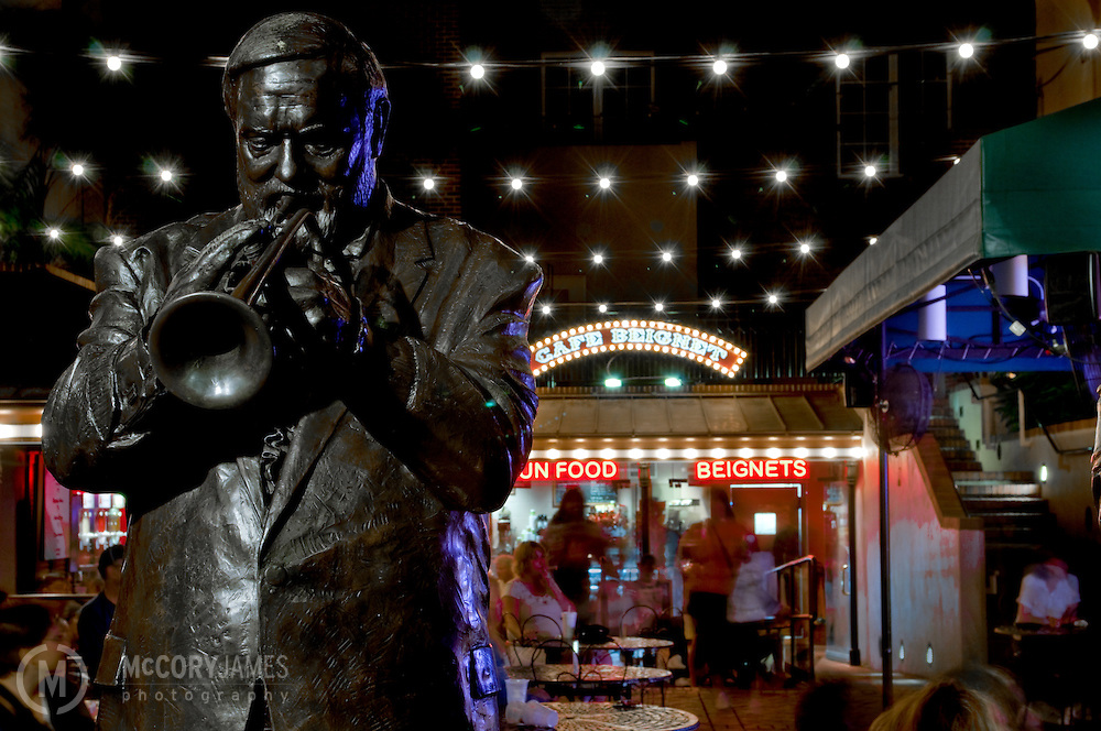 "Statue of trumpet legend  Al ""Jumbo"" Hirt at Cafe Beignet on Bourbon Street in New Orleans, Louisiana"
