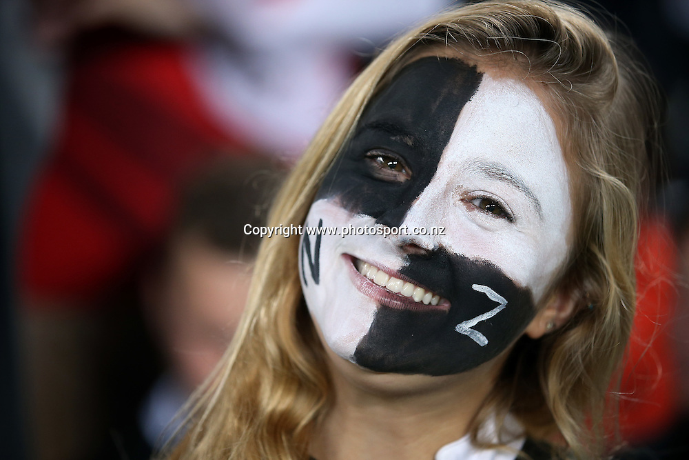 All Blacks fan. New Zealand All Blacks v England rugby international match at Eden Park, Auckland, New Zealand. Steinlager Series. Saturday 7 June 2014.  Photo: Jason Oxenham/Photosport.co.nz