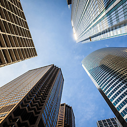Chicago architecture downtown city buildings upward view looking up toward a blue sky