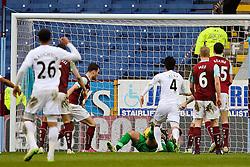 Burnley's Kieran Tripper scores an own goal  - Photo mandatory by-line: Matt McNulty/JMP - Mobile: 07966 386802 - 28/02/2015 - SPORT - Football - Burnley - Turf Moor - Burnley v Swansea City - Barclays Premier League