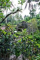 View across the river at the caves at Gunung Kawi, Gianyar Regency, Bali, Indonesia