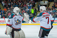 KELOWNA, CANADA - JANUARY 21: Lucas Johansen #7 and Michael Herringer #30 of the Kelowna Rockets celebrate a goal against the Portland Winterhawks on January 21, 2017 at Prospera Place in Kelowna, British Columbia, Canada.  (Photo by Marissa Baecker/Shoot the Breeze)  *** Local Caption ***