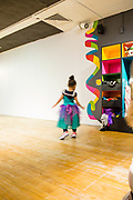 A dance space in the Children;s Museum of Manhattan, complete with a selection of costumes.