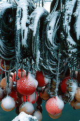 SWEDEN FJALLBACKA JAN04 - Detail of snow-covered buoys and ropes on a pier in Fjallbacka, Sweden.. . jre/Photo by Jiri Rezac. . © Jiri Rezac 2004. . Contact: +44 (0) 7050 110 417. Mobile:  +44 (0) 7801 337 683. Office:  +44 (0) 20 8968 9635. . Email:   jiri@jirirezac.com. Web:    www.jirirezac.com.
