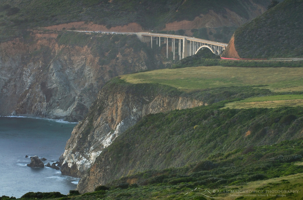 Classic view of Bixby Bridge and rugged coastal headlands of Big Sur California