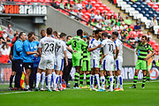 players stop for a water break during the Vanarama National League Play Off Final match between Tranmere Rovers and Forest Green Rovers at Wembley Stadium, London, England on 14 May 2017. Photo by Adam Rivers.