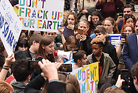 Student leader Alexandria Villaseñor, 13, speaks to the crowd at City Hall. Joining more than a million young people worldwide on Friday, March 15th, 2019, thousands of students walked out of school in New York City protesting government inaction over climate change. Marchers began gathering at over a dozen locations, including City Hall and Columbus Circle in Manhattan, the rally culminating in a march alongside Central Park to the steps of the American Museum of Natural History.