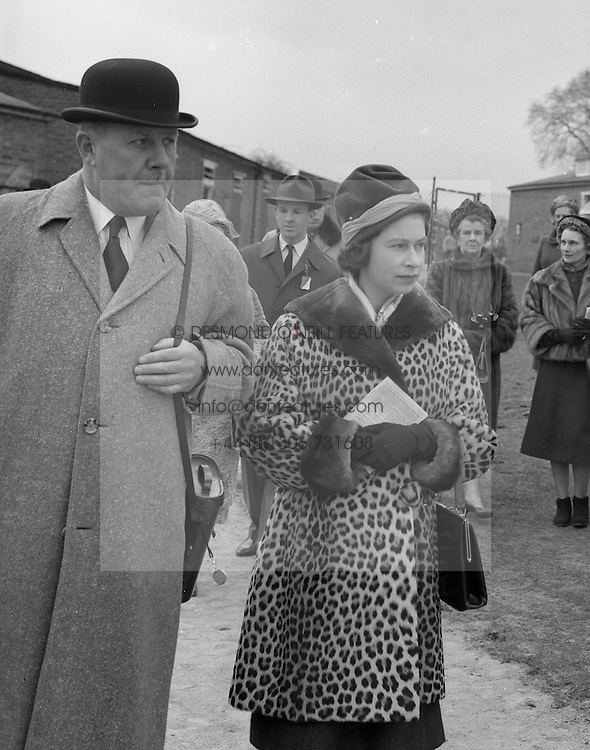HM The Queen Elizabeth II and Gen.Sir Randle Feilden  at the Grand Military Race Meeting at Sandown Park Racecourse, Esher, Surrey on 23rd March 1962.