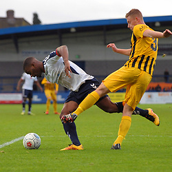 TELFORD COPYRIGHT MIKE SHERIDAN 10/11/2018 - Penalty appeal - Andre Brown of AFC Telford is felled by Ashley Jackson of Boston, but the referee waved away the appeals, during the Vanarama Conference North fixture between AFC Telford United and Boston United.