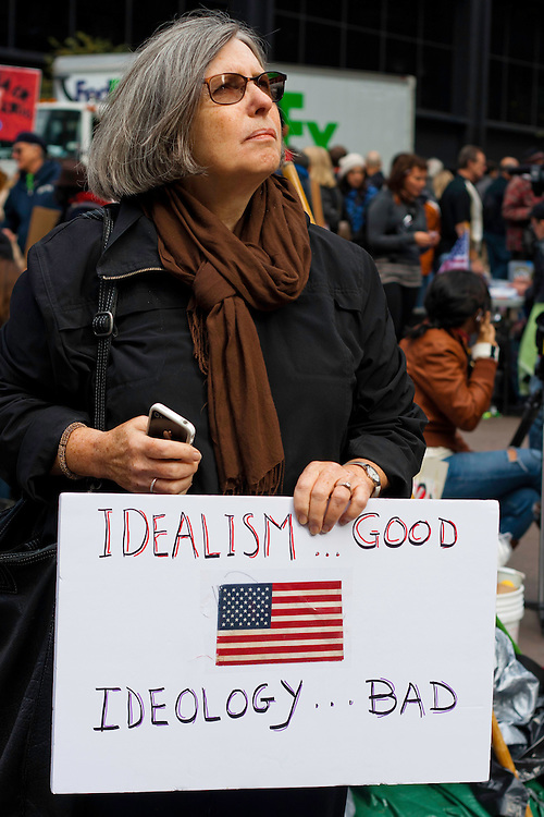 Protester holds up a sign at the Occupy Wall Street demonstration in Zuccotti Park. October 21, 2011.