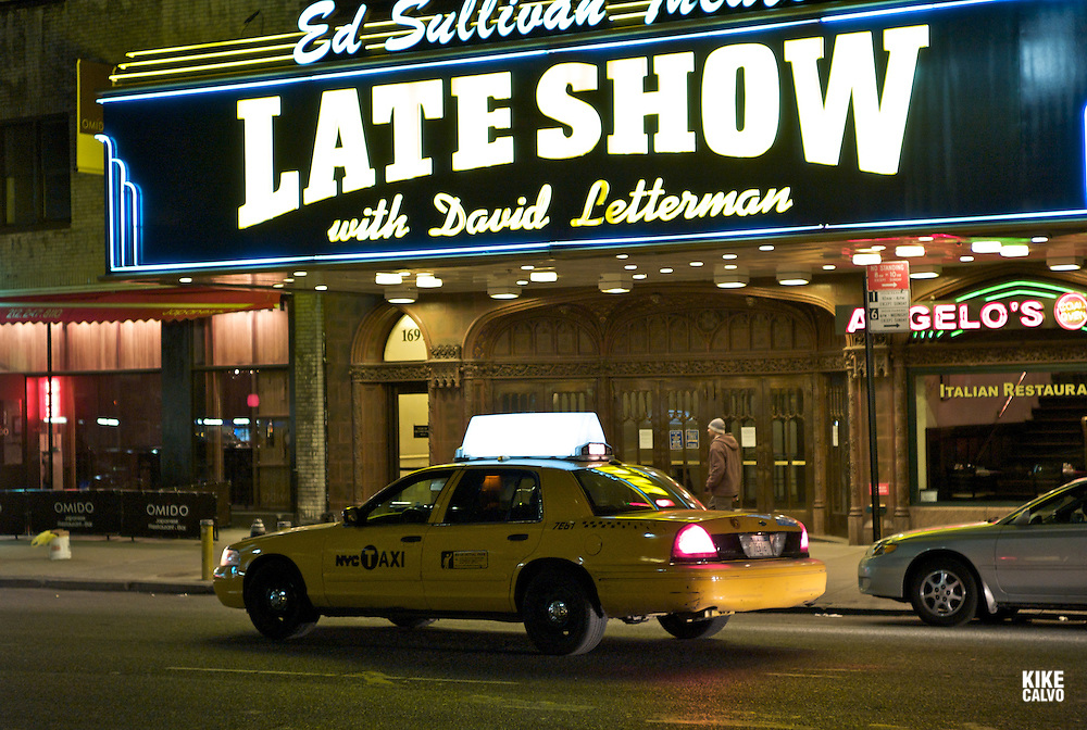 Times Square teather area at nigh, heart of all New York Broadway showsDavid Letterman show at the Ed Sullivan theater