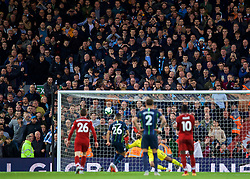 LIVERPOOL, ENGLAND - Sunday, October 7, 2018: Manchester City supporters look on in shock as Riyad Mahrez sends his penalty kick high over the bar and Liverpool's diving goalkeeper Alisson Becker during the FA Premier League match between Liverpool FC and Manchester City FC at Anfield. (Pic by David Rawcliffe/Propaganda)