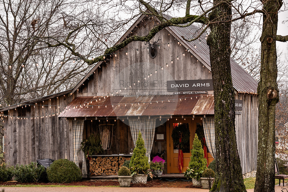Old barn and gallery of artist David Arms in Leipers Fork, Tennessee.