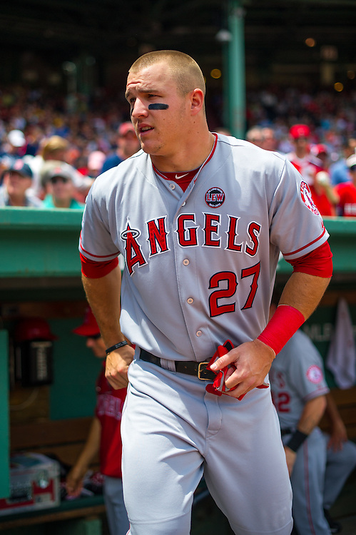 BOSTON, MA - JUNE 09: Mike Trout #27 of the Los Angeles Angels looks on during the game against the Boston Red Sox at Fenway Park in Boston, Massachusetts on June 9, 2013. (Photo by Rob Tringali) *** Local Caption *** Mike Trout