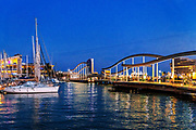 The Rambla de Mar is a walkway over the water, the natural continuation of the Ramblas in Barcelona, Spain.