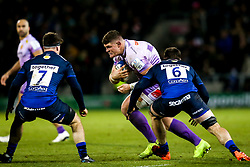 Dave Ewers of Exeter Chiefs takes on Tom Curry and Ben Curry of Sale Sharks - Mandatory by-line: Robbie Stephenson/JMP - 08/12/2019 - RUGBY - AJ Bell Stadium - Manchester, England - Sale Sharks v Exeter Chiefs - Heineken Champions Cup