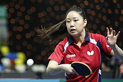 February 23, 2018 - London, England, United Kingdom - Tianwei FENG of Singapore during ITTF Team World Cup match between Kasumi ISHIKAWA of Japan and Tianwei FENG of Singapore, Quarter Finals Women doubles match on February 23, 2018 in Copper Box Arena, Olympic Park, London. (Credit Image: © Dominika Zarzycka/NurPhoto via ZUMA Press)