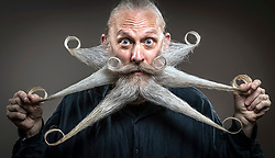 Aarne Bielefeld attends the fourth British Beard and Moustache Championships at the Empress Ballroom, Winter Gardens, Blackpool.