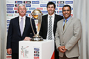 WELLINGTON, NEW ZEALAND - JULY 30:  L to R, Sir Richard Hadlee, Stephen Fleming and Waqar Younis pose with the ICC Cricket World Cup during the official launch of the ICC Cricket World Cup 2015 on July 30, 2013 in Wellington, New Zealand.  (Photo by Hagen Hopkins/ICC)