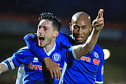 Ian Henderson goal celebration, Calvin Andrew during the Sky Bet League 1 match between Rochdale and Chesterfield at Spotland, Rochdale, England on 9 January 2016. Photo by Daniel Youngs.