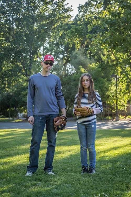 """I want to play professional baseball...men's professional baseball and I want to pitch.""  -Ten year old Afton Parks with her father, Christian after a game of catch at Calistoga Elementary school"